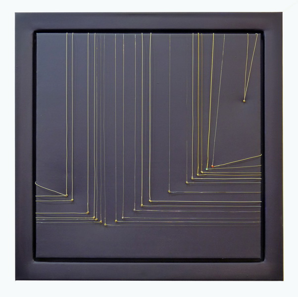 The seduction of right angle, 2013, guitar strings, acrylic on canvas, 60x60cm
