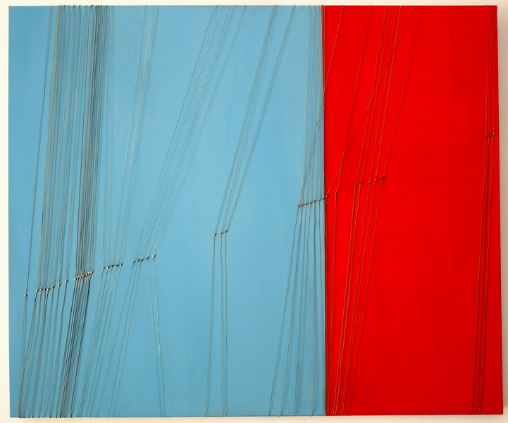Increases in Celsius degrees, 2012, mixt technique( guitar strings, acrylic on canvas), 100x120cm