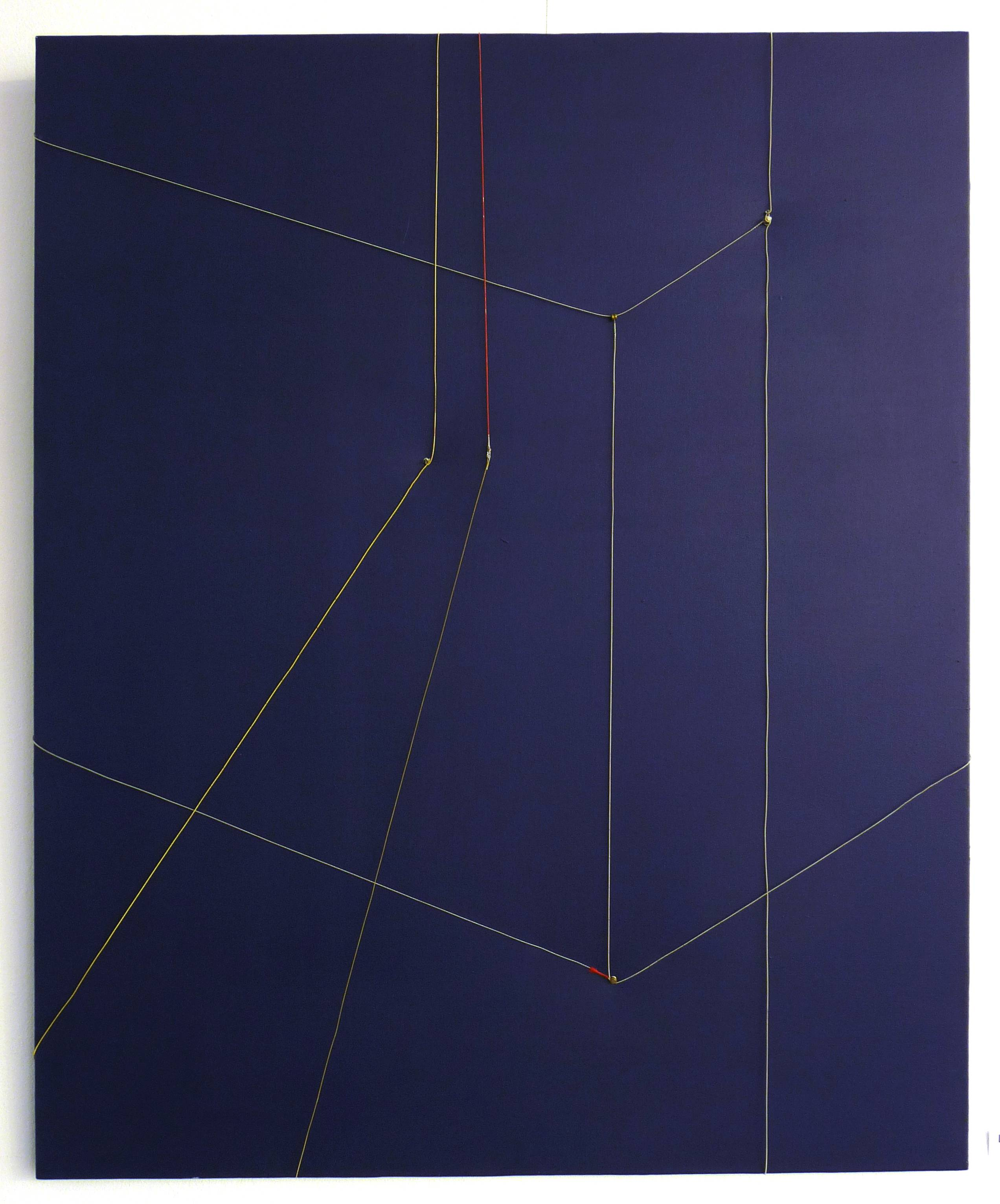 Far away in cyberspace, 2012, mixt technique( guitar strings, acrylic on canvas), 110x90cm