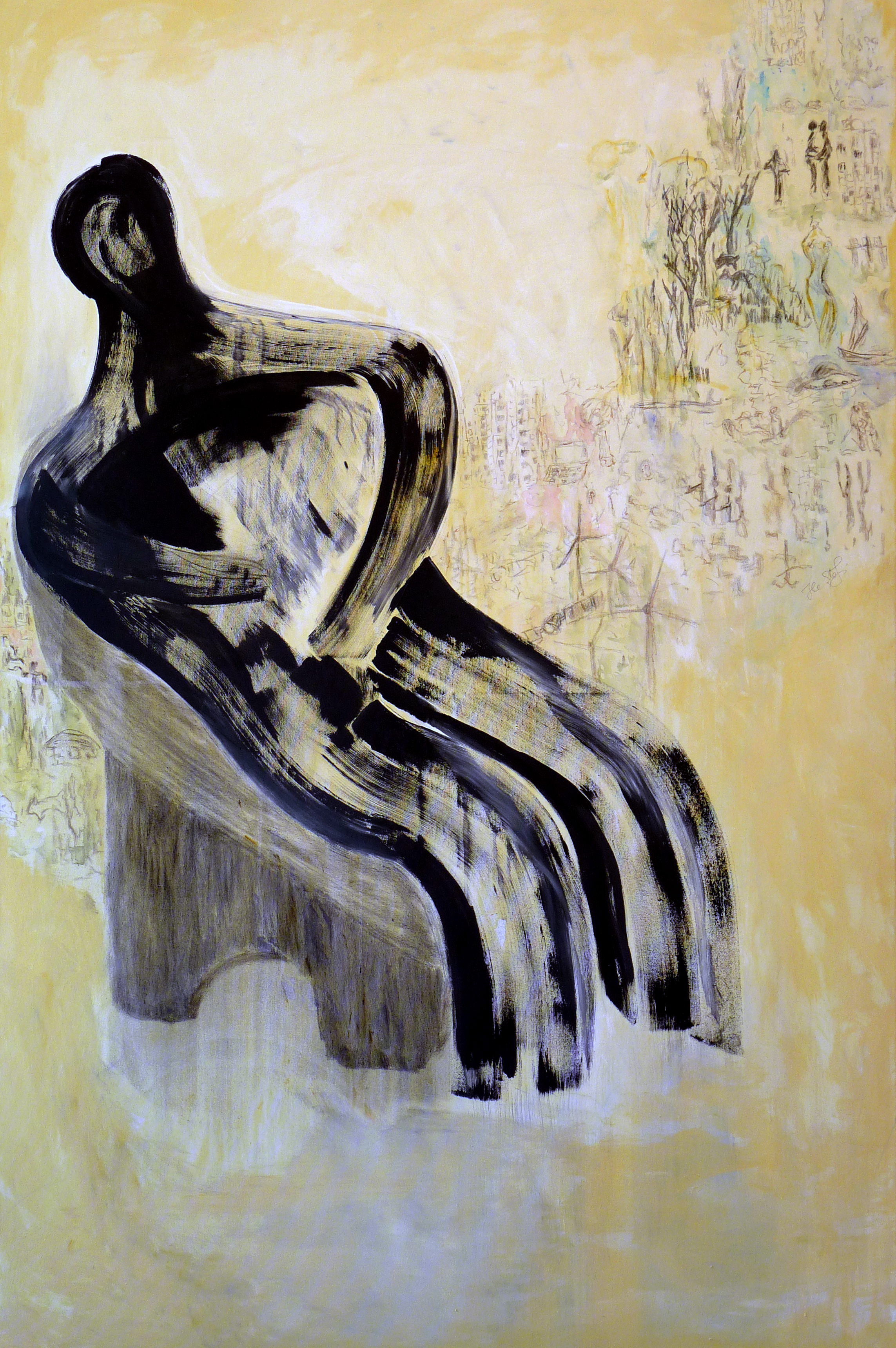 Contemplation State, 180x120cm, acrylic, charcoal on canvas, 2014