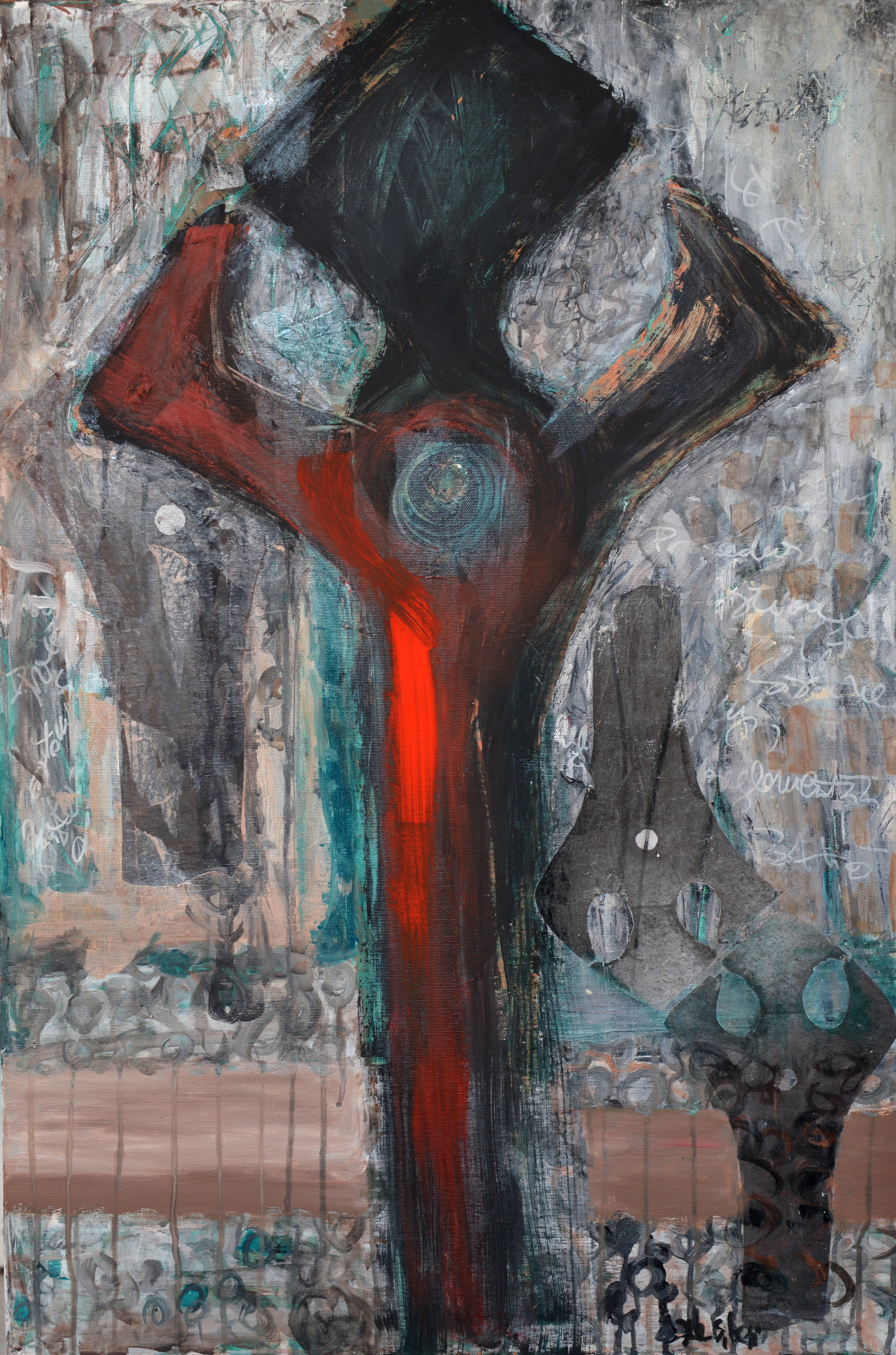 Out of the system, 90x60cm, acrylic, charcoal, clay, paper on canvas, 2015