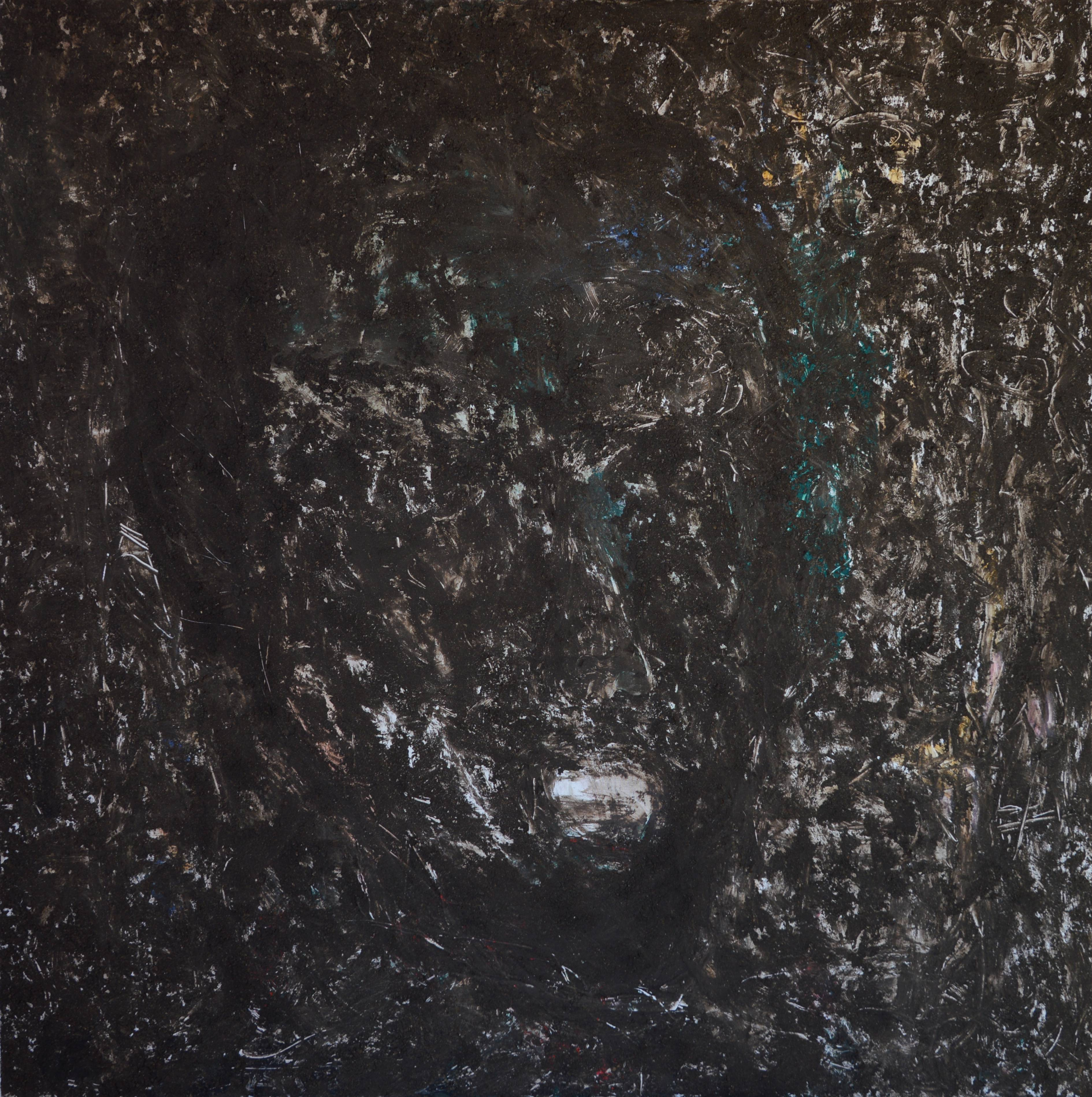 Selfie from the past, 150x150cm, bio soil, acrylic on canvas, 2016
